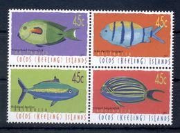 COCOS ISLANDS * 2001 * Complete Set 4 Stamps In Block * MNH** Fish - Mi.No 404-407 - Cocoseilanden