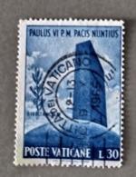 1965 - VATICANO - VISITA  PAOLO VI ALL'O.N.U. - VALORE DI LIRE  30 - SINGOLO - USATO - Oblitérés