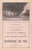 Montargis :  Collège De Garçons 1934 , Livret Tableau D'honneur Noms Des élèves  ///  Ref.  Juin   20 - Montargis