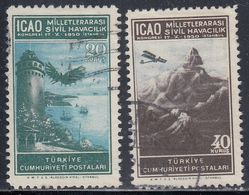 Turkey, Scott #1034-1035, Used, Flight Of Hezarfen Ahmet Celebi, Plane Over Taurus Mountains, Issued 1950 - 1921-... République