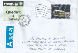 """Letter From BELGIUM During COVID19 Lockdown, Sent To Andorra, With Calatan Label """"Queda't A Casa"""" STAY HOME - Belgien"""