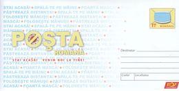 "ROMANIA 2020: COVID-19 ""STAY HOME- WE WILL COME TO YOU!"" Unused Prepaid Cover - Registered Shipping! Envoi Enregistre! - Maladies"
