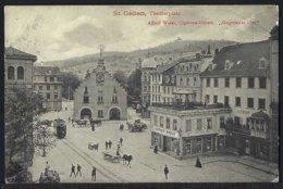 St.Gallen - Theaterplatz - Tram - Belebt - 1911 - SG St. Gall