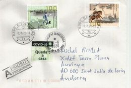 """Letter Sent From Obwalden During COVID19 Lockdown,  To Andorra, With Calatan Label """"Queda't A Casa"""" STAY HOME - Schweiz"""