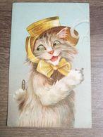 Cpa Chat Cat Humanisé  Chapeau - Autres Illustrateurs