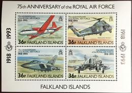 Falklands Islands 1993 RAF Air Force Anniversary Aircraft Minisheet MNH - Falkland Islands