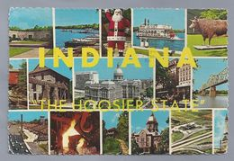 US.- INDIANA. THE HOOSIER STATE. GREETINGS FROM INDIANA. LINCOLN BOYHOOD NAT. MEMORIAL, SANTA CLAUS, OHIO RIVER BRIDGE, - Etats-Unis