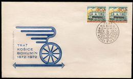 Czechoslovakia Kosice 1972 / 100th Anniversary Of The Kosice-Bohumin Railway / Steam Locomotive - Trains