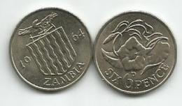 Zambia 6 Six  Pence 1964. High Grade - Zambia