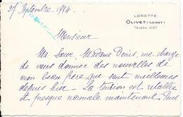 1934 - LORETTE - OLIVET (LOIRET) -  Téléphone 0.67 - Visitenkarten
