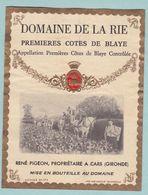 Etiquette De Vin Domaine De La Rie Premières Cotes De Blaye CARS Thème Vigneron Vendanges Métier - Métiers