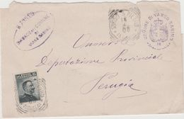 9437 Eb.   Plico Coperta Varco Sabino Rieti - Borgo San Pietro Aquila - Perugia 1908 - 1900-44 Victor Emmanuel III