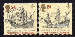 APR2033 - GRAN BRETAGNA 1992, Unificato 28p Usato N. 1610 : Due Esemplari (2380A) Europa Cept Colombo - 1952-.... (Elizabeth II)
