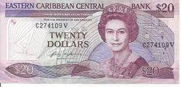 EAST CARIBBEAN ST. KITTS P19V 20 DOLLARS 1987 VF QUEEN - Ostkaribik