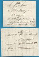 (T-007) Belgique - Précurseur - LAC Et LSC De 1805 Et 1803 Vers Bruges Par Porteur - 1794-1814 (Période Française)