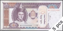 TWN - MONGOLIA 65a - 100 Tögrög 2000 DEALERS LOT X 5 - Prefix AE UNC - Mongolia
