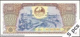 TWN - LAOS 31b - 500 Kip 2015 DEALERS LOT X 5 - Prefix AA UNC - Laos