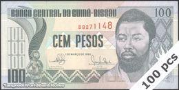 TWN - GUINEA-BISSAU 11 - 100 Pesos 1.3.1990 DEALERS LOT X 100 - Prefix BB UNC - Guinea-Bissau