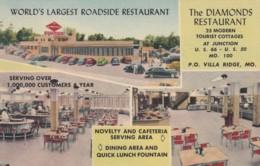 Route 66, Villa Ridge Missouri, Diamond's Restaurant, Interior Views, Autos, C1950s Vintage Linen Postcard - Route '66'
