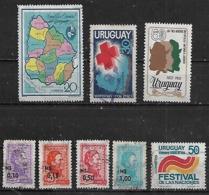 1972-3 Uruguay Mapa-cruz Roja-los Tres Gauchos-personajes-festival De Las Naciones 8v. - Uruguay