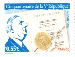Timbre YT 4282 Neuf** Cinquantenaire De La Ve République - La Constitution Du Général Charles De Gaulle - De Gaulle (General)