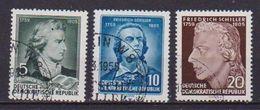 GERMANIA DEMOCRATICA DDR 1955 ANNIVERSARIO DELLA MORTE DI F,SCHILLER UNIF. 464-466A USATA VF - [6] Democratic Republic