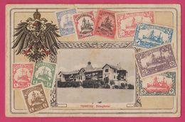 Tsingtau China, Strendhotel, Kiautschou Embossed Stamps Card , Carte Relief Chine 1913 - Chine