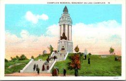 New York Champlain Memorial Monumen On Lake Champlain Curteich - Adirondack