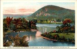 New York Adirondacks Where Hudson And Schroon Rivers Meet Showing Sugarloaf Mountain Curteich - Adirondack