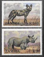 Zambia  1988    Sc#454-5   Endangered Species  MH  2016 Scott Value $7.85 - Zambia (1965-...)