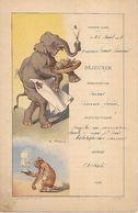 Menu 1902 Paquebot Ernest Simons - Eléphant & Singe - VIMAR - Navigation Marine - Bateaux