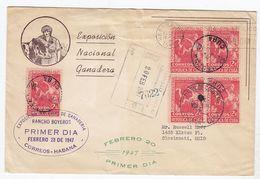 Kuba 1947 R-Brief Mit Guter MEF (Viererblock) In Die USA + AKs - Cuba