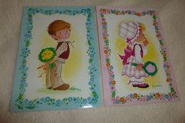 LOT DE 2 CARTES ...ILLUSTRATIONS ENFANTS...TENDRESSE PAR AUPHAN - Other Illustrators