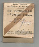 JC , SNCF , Carte D'approvisionnement ,1962 , Parcours Chatellerault-Poitiers,reste 28 Tickets,frais Fr 1.75 E - Chemins De Fer