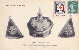 VIL20- PARIS  MUSEE DE L'ARMEE  CASQUE OFFICIER ALLEMAND ETUIS DRAPEAUX  TIMBRE SECOURS AUX BLESSES 1914 1915 - Guerre 1914-18