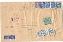 GANDON 15FRX4+5FR VIOLET GRANDE LETTRE AVION SURESNES 14.10.1954 POUR SUEDE TAXE 25C BANDE DE 3 - 1945-54 Maríanne De Gandon