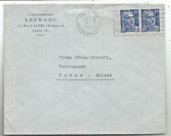 GANDON 15FR BLEU PAIRE PERFORE LF LEFRANC PARIS VIII 14.11.1952 POUR SUISSE AU TARIF - 1945-54 Marianne De Gandon