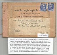 GANDON 15FR BLEU TYPE I ET TYPE II SUR CARNET A SOUCHE CAISSE CONGES PAYES MOULINS ALLIER 1953 RARE - 1945-54 Maríanne De Gandon