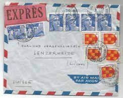 GANDON 15FR BLEUX6+ BLASON 1FRX5 POITOU LETTRE EXPRES AVION PARIS 3.11.1953 POUR SUISSE - 1945-54 Marianne Of Gandon