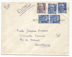 GANDON 15FR BLEUX4+ 5FR VIOLET LETTRE EXPRES AVION ANNULATION GRIFFE BORDEAUX GARE ETRANGER POUR MAROC 1953 - 1945-54 Marianne Of Gandon