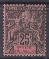 SAINTE MARIE DE MADAGASCAR : GROUPE 25c NOIR N° 8 NEUF * GOMME AVEC CHARNIERE - Madagascar - Sainte-Marie (1894-1898)