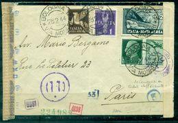 ITALIE GUERRE 39 / 45 Lettre De BOLOGNE 28.2.1944 Pour PARIS Affr 5 Tp + Censures Divers TB. - WO2