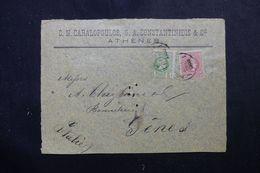 GRECE - Devant D'enveloppe Commerciale D'Athènes Pour L'Italie En 1900, Affranchissement Plaisant - L 63169 - 1886-1901 Small Hermes Heads