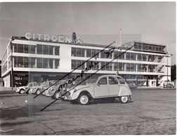 < Automobile Auto Voiture Car >> Belle Photo Originale 18 X 24, 2CV Devant L'Atelier De Citroën D'Amsterdam Vers 1963 - Automobile