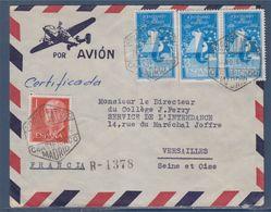 Enveloppe 4 Timbres De Madrid 16.7.56 à Versailles 17.7 56 Recommandé Par Avion - 1931-Aujourd'hui: II. République - ....Juan Carlos I