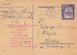GG Rotes Kreuz: Ganzsache Krakau 25.2.42 - Besetzungen 1938-45