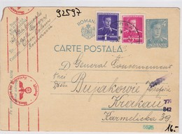 GG: Ganzsache Aus Rumänien Nach Krakau, Zensur - Occupation 1938-45
