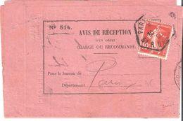 PARIS 25B 37 R. DAUPHINE Recette Auxilliaire Sur Avis De Réception - Postmark Collection (Covers)
