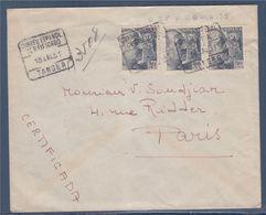 Enveloppe Recommandée 3 Timbres De Tanger Maroc Espagnol 18.1.51 à Paris 23.1.51 - Maroc Espagnol