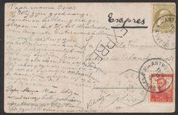 Affranch. Mixte (GB / Pellens) N°75 Et 110 Sur CP Vue En Expres De Antwerpen / Anvers (1912) > Gand çàd Arrivée Télég. - 1905 Barbas Largas